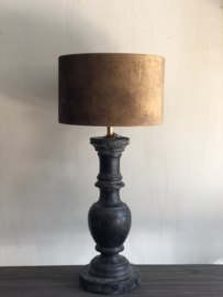 Houten tafellamp inclusief goud/koperen kap Ilse - 55x25 cm