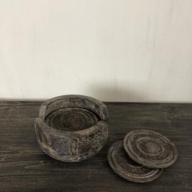 Onderzetters in houder - grey finish