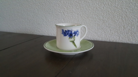 Flora - Espresso/mokka kop en schotel (Korenbloem)