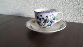 Phoenix Blauw - Koffie kopje met schotel