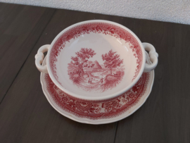Burgenland - Soepkom met schotel (rood) (met hert)