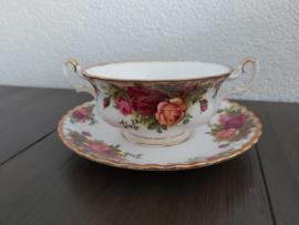 Old Country Roses - Soepkop met schotel met imperfecties