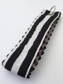 Polscord / sleutelhanger blackwhite stripes