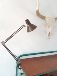 Vintage industriële klemlamp schaarlamp bruin