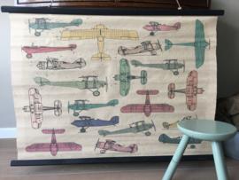 vintage look schoolplaat vliegtuigen