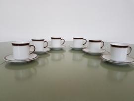vintage kop en schotel (set van 6)