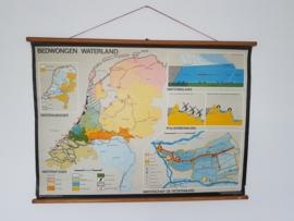vintage wandkaart bedwongen waterland