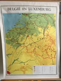 vintage wandkaart België en Luxemburg