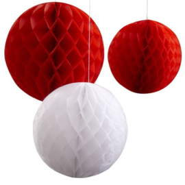 HONEYCOMBS BOL ROOD/WIT - 1 SET