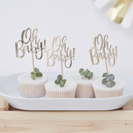 CUPCAKE TOPPERS 'OH BABY!' GINGER RAY (12ST)