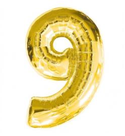 FOLIE BALLON CIJFER '9 GOUD' (1ST)