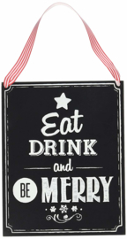 KRIJTBORD HOUT 'EAT, DRINK & BE MERRY' GINGER RAY (1ST)