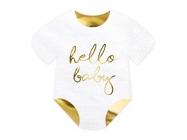 SERVETTEN 'ROMPERTJE' HELLO BABY (20ST)