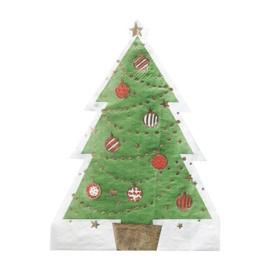 SERVETTEN 'KERSTBOOM/GOUDFOLIE' NOVELTY CHRISTMAS - 12 STUKS