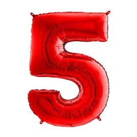 FOLIE BALLON CIJFER '5 ROOD' (1ST)