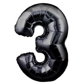 FOLIE BALLON CIJFER '3 ZWART' (1ST)