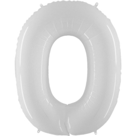 FOLIE BALLON CIJFER '0 WIT' (1ST)