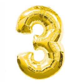 FOLIE BALLON CIJFER '3 GOUD' (1ST)