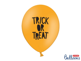 LATEX BALLONNEN 'TRICK OR TREAT/ORANJE' (50ST)