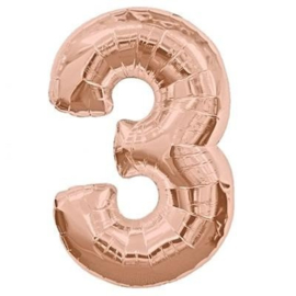 FOLIE BALLON CIJFER '3 ROSÉGOUD' (1ST)