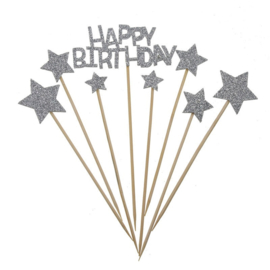 TAARTTOPPERS 'HAPPY BIRTHDAY STAR' ZILVER/GLITTER (1ST)