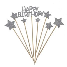 TAART PRIKKERS 'HAPPY BIRTHDAY STAR' ZILVER/GLITTER - 1 STUKS