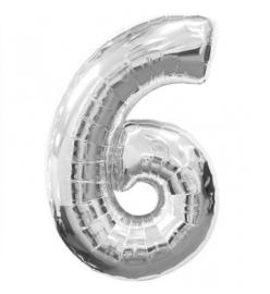 FOLIE BALLON CIJFER '6 ZILVER' (1ST)