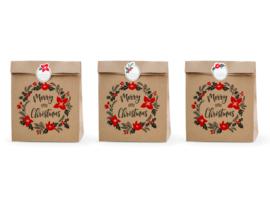 CADEAUZAKJES KRAFT 'MERRY LITTLE CHRISTMAS' (3ST)
