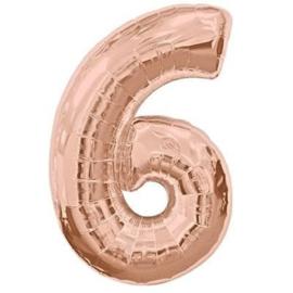 FOLIE BALLON CIJFER '6 ROSÉGOUD' (1ST)