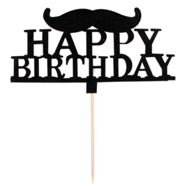 TAARTTOPPER 'MR. MOUSTACHE/HAPPY BIRTHDAY' (1ST)