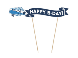 TAARTTOPPER 'HAPPY B-DAY!' LITTLE PLANE (1ST)