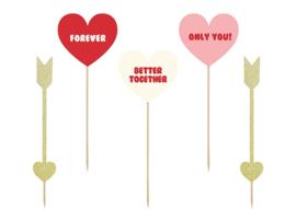 TAARTTOPPERS 'HART/PIJLTJES' SWEET LOVE - 5 STUKS