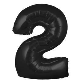 FOLIE BALLON CIJFER '2 ZWART' (1ST)