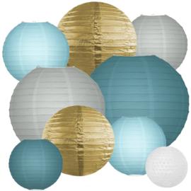 LAMPIONNEN PAKKET (XL) 'DUSTY BLUE & GOLD' (40ST)