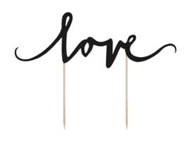 TAARTTOPPER 'LOVE ZWART' ELEGANT BLISS - 1 STUKS