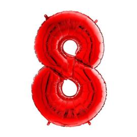 FOLIE BALLON CIJFER '8 ROOD' (1ST)