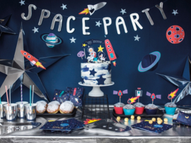 TAARTKAARSJES SET 'SPACE' SPACE PARTY (4ST)