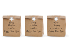 CADEAUZAKJES KRAFT 'MERRY CHRISTMAS AND HAPPY NEW YEAR' (3ST)