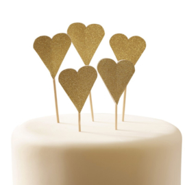 CUPCAKE TOPPERS 'HARTJES GOUD GLITTER' GINGER RAY (10ST)