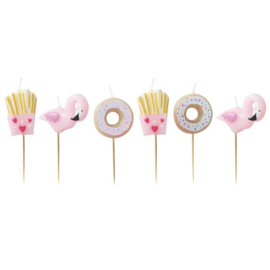 TAARTKAARSJES KIT 'FLAMINGO/DONUT/FRIES' GINGER RAY (6ST)