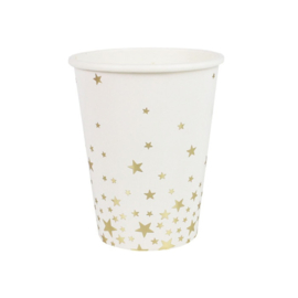 PAPIEREN BEKERS 'GOLD METALLIC STAR' GINGER RAY (8ST)