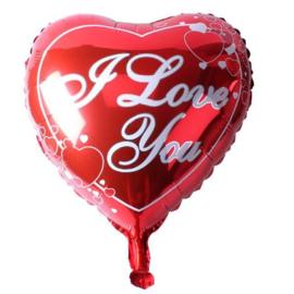 "FOLIE BALLON ""I LOVE YOU"" HART ROOD - 1 STUKS"