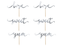 CUPCAKE TOPPERS 'LOVE/ZILVER' (6ST)
