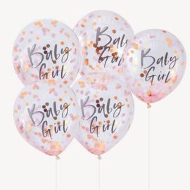 LATEX BALLONNEN CONFETTI 'BABY GIRL' GINGER RAY (5ST)