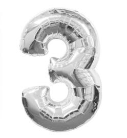 FOLIE BALLON CIJFER '3 ZILVER' (1ST)