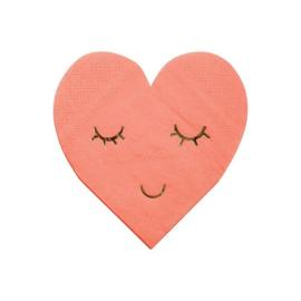 SERVETTEN 'BLUSHING HEART' MERI MERI (16ST)