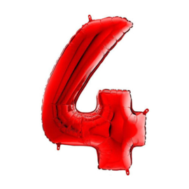 FOLIE BALLON CIJFER '4 ROOD' (1ST)