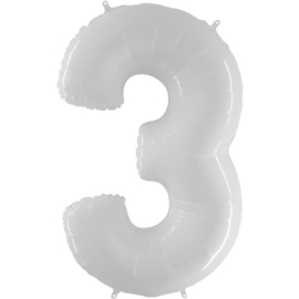FOLIE BALLON CIJFER '3 WIT' (1ST)