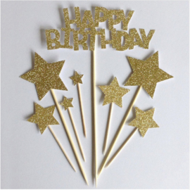 TAARTTOPPERS 'HAPPY BIRTHDAY STAR' GOUD/GLITTER (1ST)