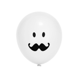 LATEX BALLONNEN 'MR. MOUSTACHE/WIT' (10ST)